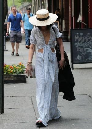 Vanessa Hudgens in Long Skirt Leaving her apartment in Soho
