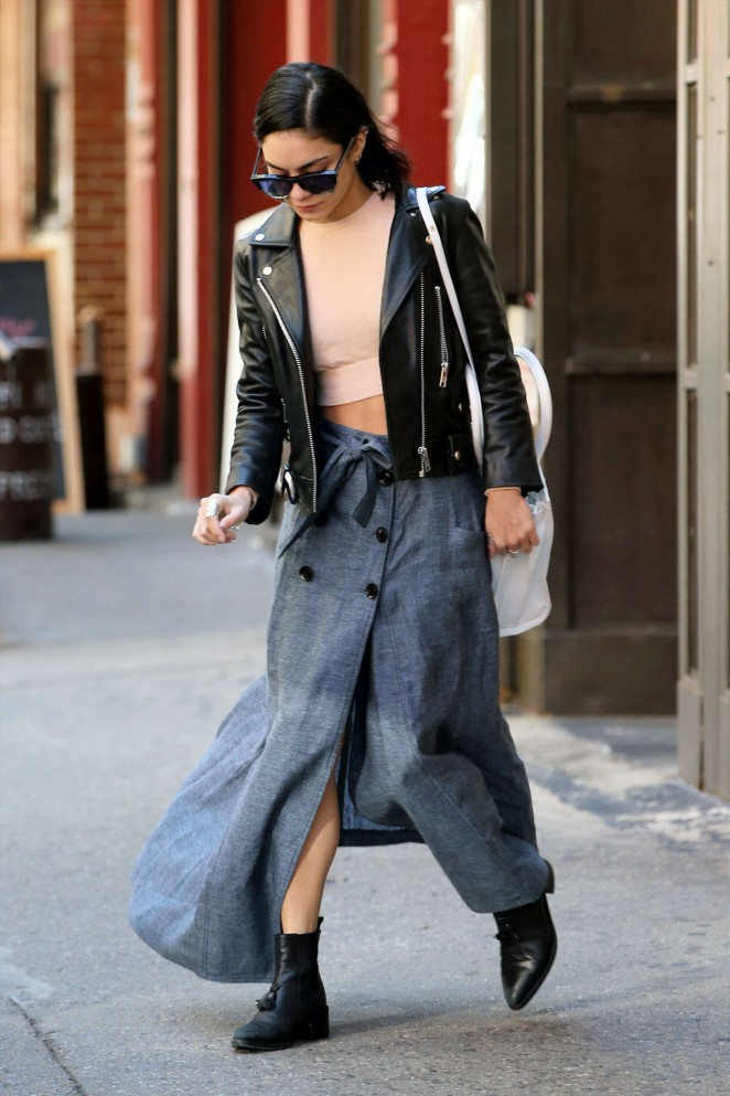 Vanessa Hudgens in Long Skirt Leaving her apartment in Soho