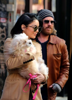 Vanessa Hudgens with her dog Leaving her apartment in Soho