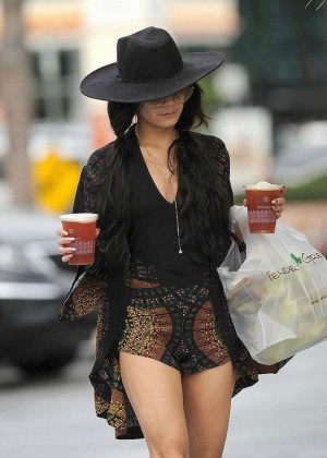 Vanessa Hudgens in Tiny Shorts Leaving Tender Greens in LA