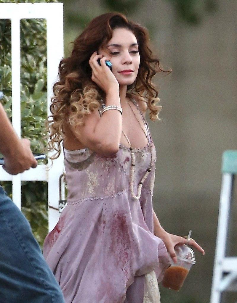 Vanessa Hudgens on the set of \'Freaks of Nature\' in LA