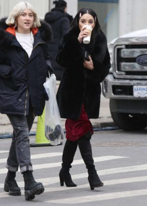 Vanessa Hudgens - On the set of 'Second Act' in NYC