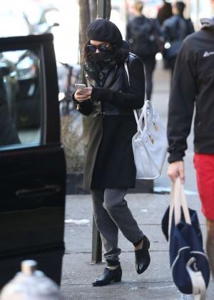 Vanessa Hudgens in Black Coat -01