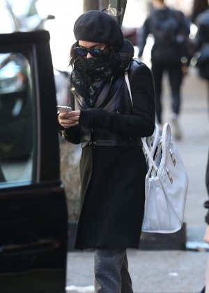 Vanessa Hudgens in Black Coat -04