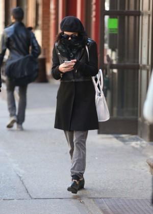 Vanessa Hudgens in Black Coat -05