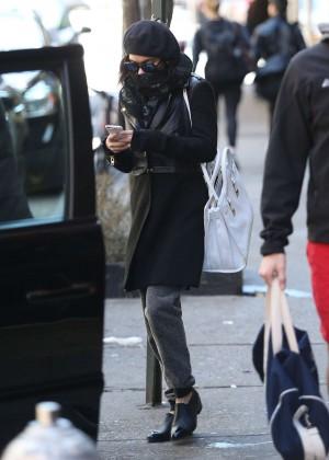 Vanessa Hudgens in Black Coat -07