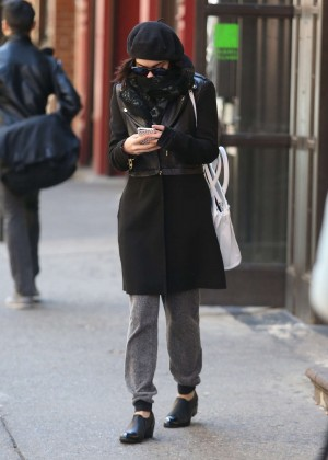 Vanessa Hudgens in Black Coat -08