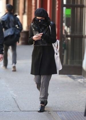 Vanessa Hudgens in Black Coat -09
