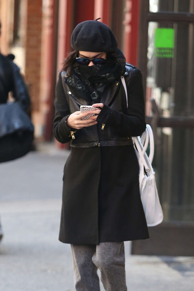 Vanessa Hudgens in Black Coat Out in NYC
