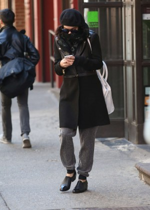 Vanessa Hudgens in Black Coat -11