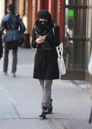 Vanessa Hudgens in Black Coat -14