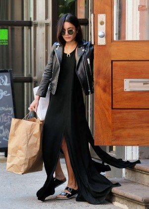 Vanessa Hudgens in Long Black Dress Out in NYC