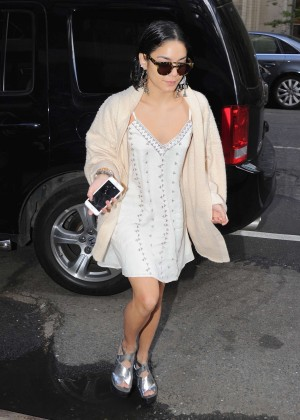 Vanessa Hudgens in White Mini Dress Out in NYC