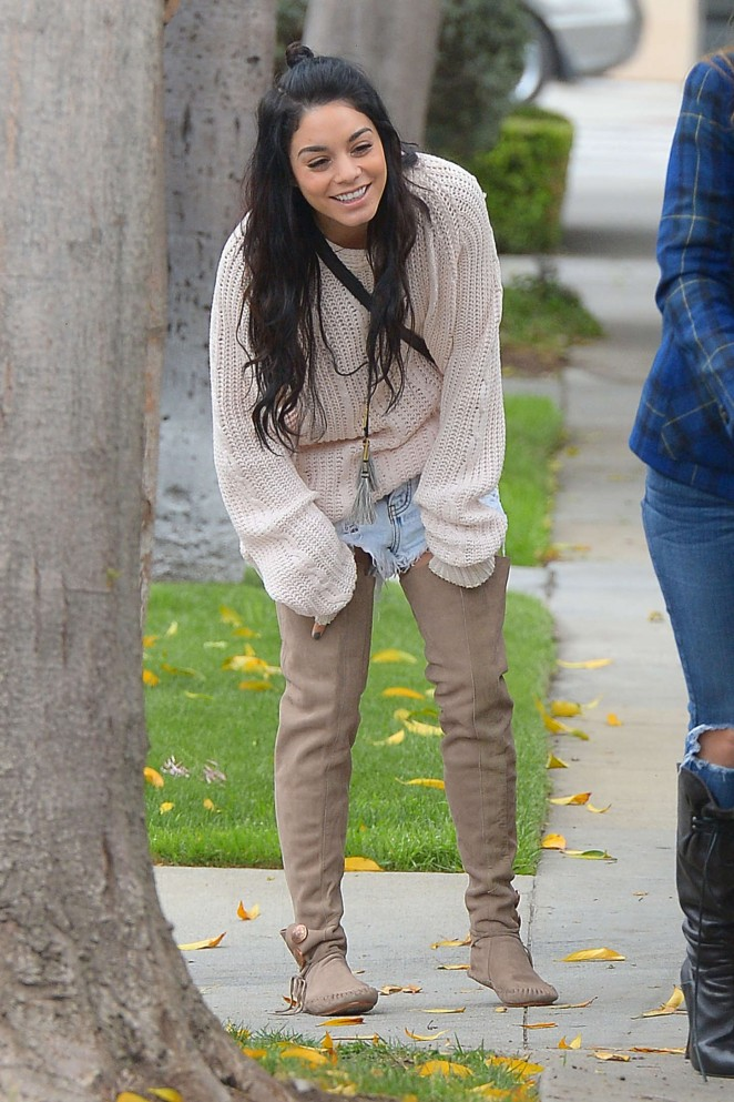 Vanessa Hudgens in Jeans Shorts and Sweaters Out in West Hollywood