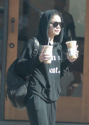 Vanessa Hudgens Out For Coffee With a Friend in Beverly Hills