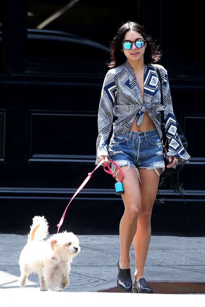 Vanessa Hudgens in Denim Shorts Out in NYC