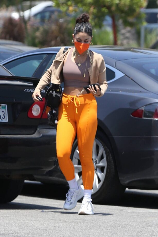 Vanessa Hudgens - Out in orange pants and cropped tank in LA
