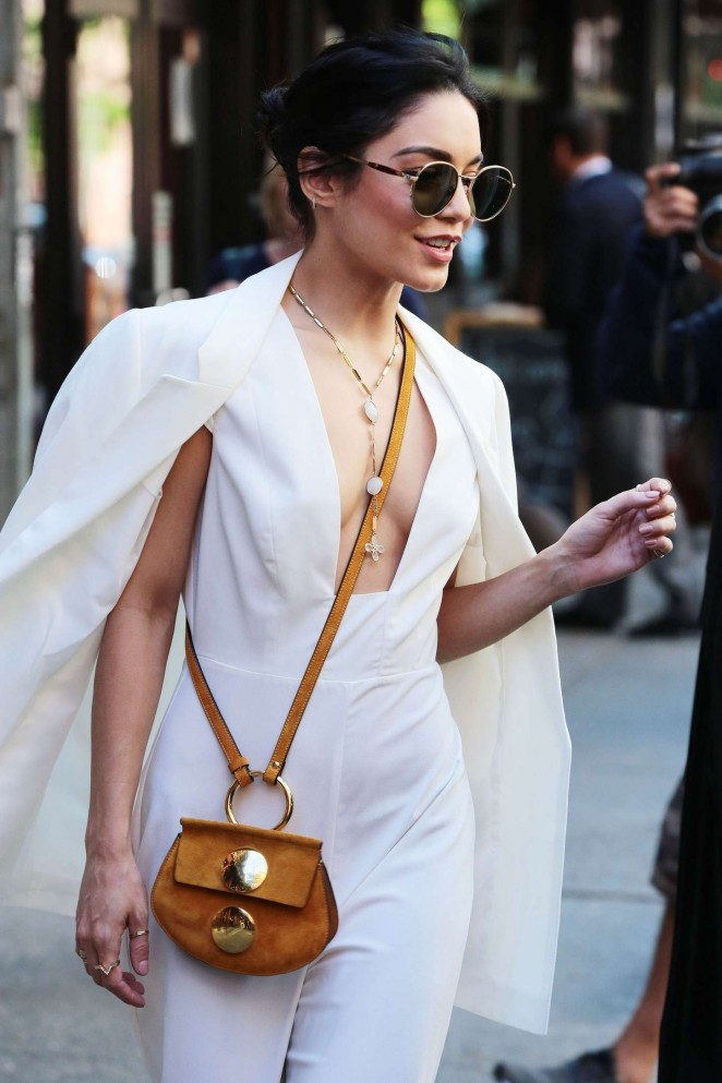 Vanessa Hudgens in White Jumpsuit out in NY