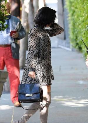 Vanessa Hudgens in Short Dress at Sunset Marquis Hotel in LA