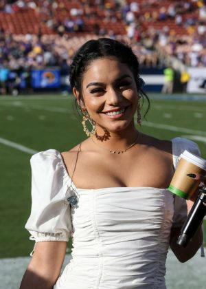 Vanessa Hudgens - Performs the National Anthem in Los Angeles