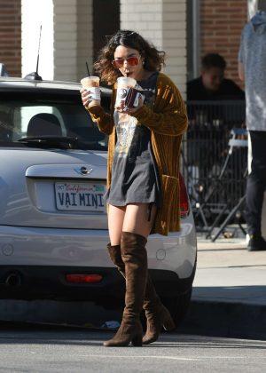 Vanessa Hudgens - Picks up Coffee Drinks in Los Angeles