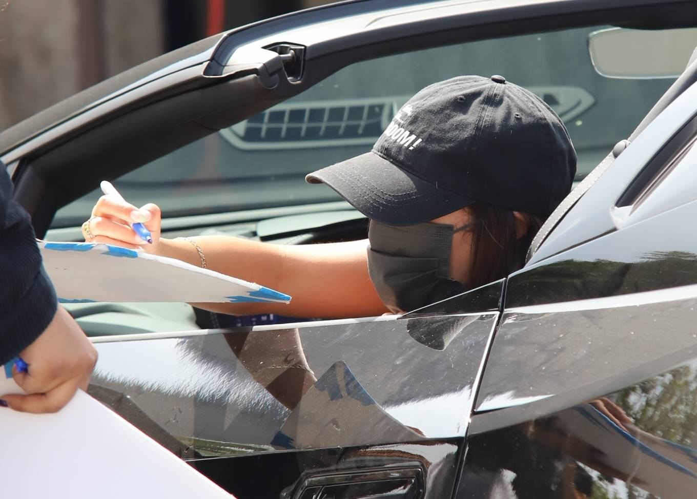 Vanessa Hudgens 2021 : Vanessa Hudgens – Seen in her Ferrari after leaving a workout at Dog Pound in West Hollywood-04
