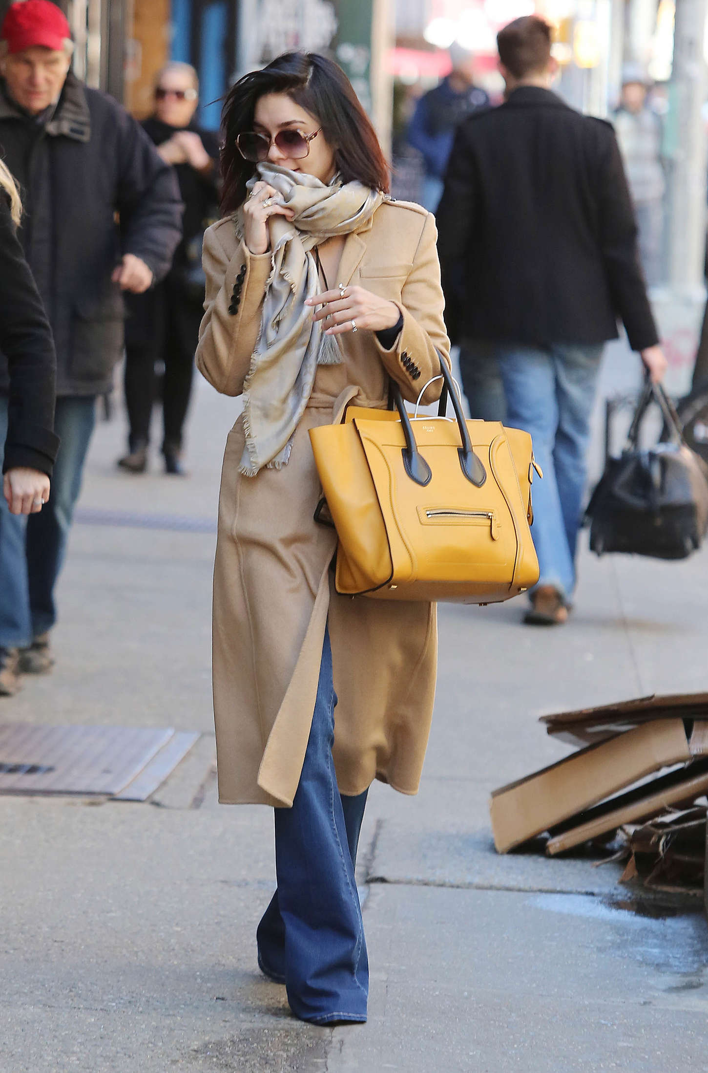 Vanessa Hudgens in Jeans and Coat Out in NYC