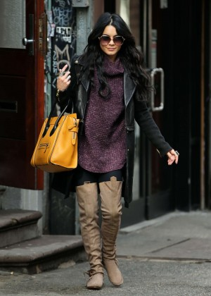 Vanessa Hudgens in Long Boots Out in NYC