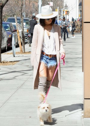 Vanessa Hudgens in Jeans Shorts Walking her dog in NYC