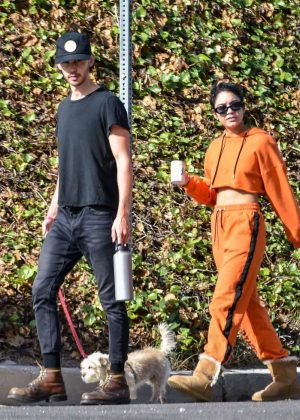 Vanessa Hudgens - Walking her dog Darla in Los Angeles