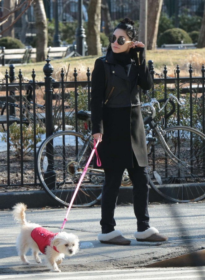 Vanessa Hudgens - Walking her dog in NYC