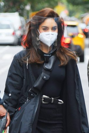 Vanessa Hudgens - Wearing mask and shield on the set of 'Tick, Tick...Boom!' in NYC