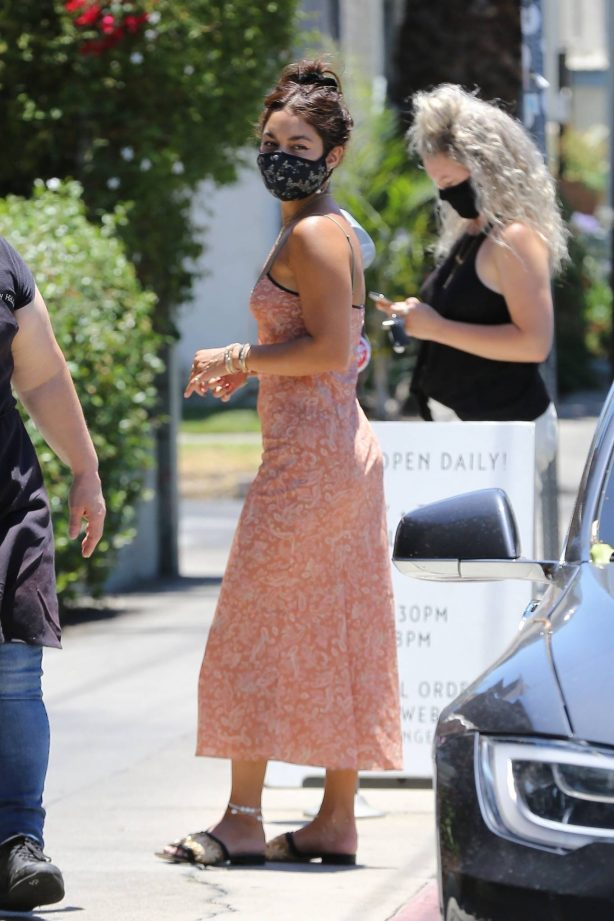 Vanessa Hudgens - Wearing retro summer dress while out in Los Angeles