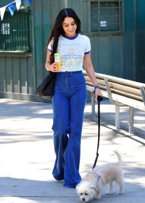 Vanessa Hudgens With her dog Darla in Los Angeles