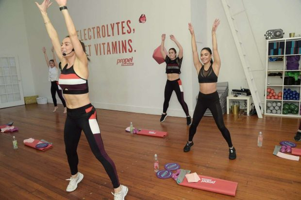 Vanessa Hudgens: Works out with Propel Vitamin Boost -05
