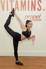 Vanessa Hudgens - Works out with Propel Vitamin Boost during a launch event in NYC