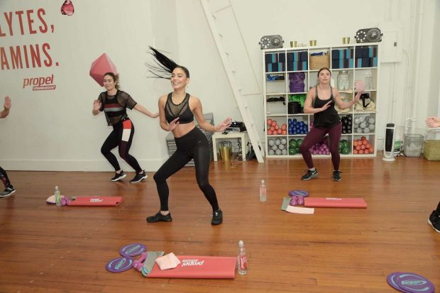 Vanessa Hudgens: Works out with Propel Vitamin Boost -17