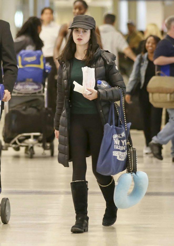 Vanessa Marano in Tights at LAX Airport in LA