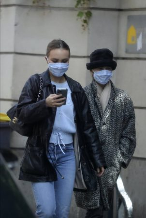 Vanessa Paradis and Lily-Rose Depp - Walking in the Marais district of Paris