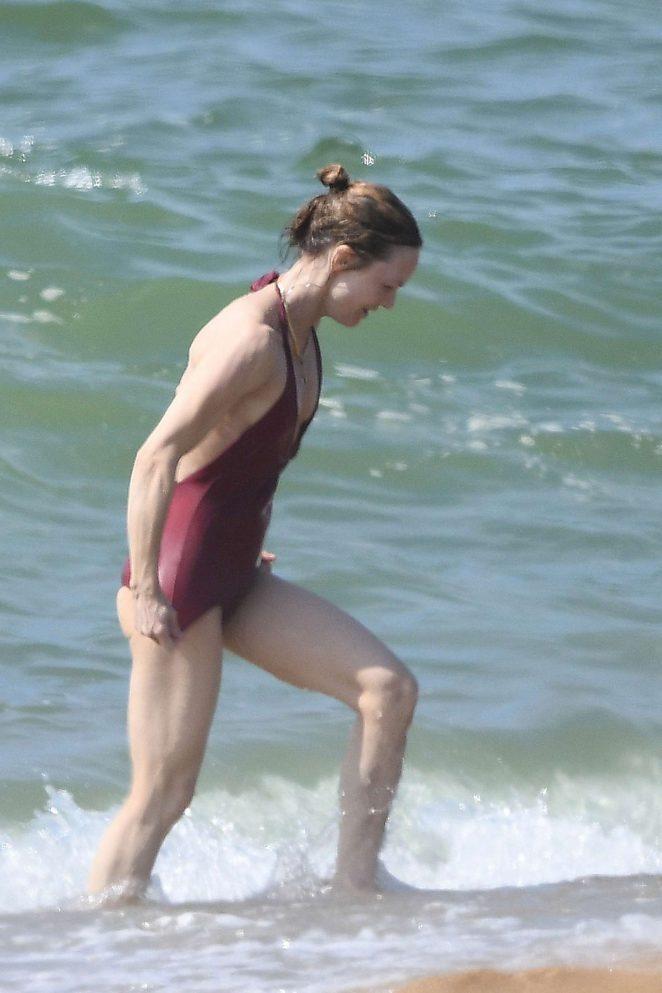 Vanessa Paradis in Swimsuit at the beach in Biarritz