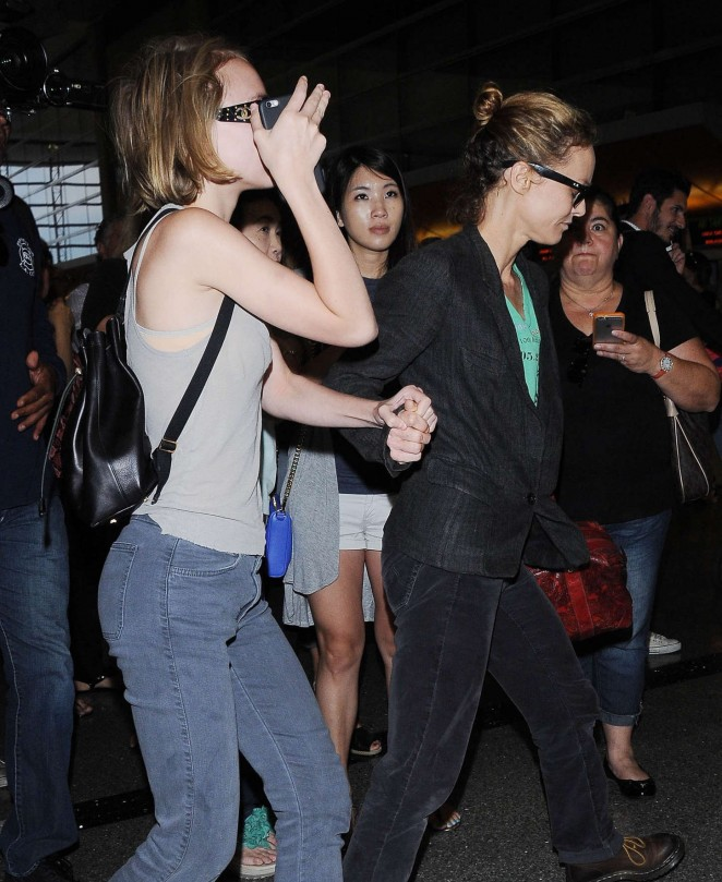 Vanessa Paradis & Lily Rose Depp at LAX airport in LA