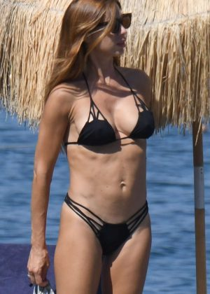 Veronica Maya in Black Bikini on the beach in Ischia