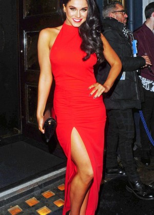 Vicky Pattison in Red Dress at Cafe De Paris in London