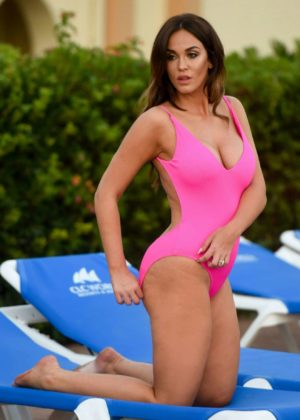 Vicky Pattison - Hot In Pink Swimsuit Poolside in Marbella
