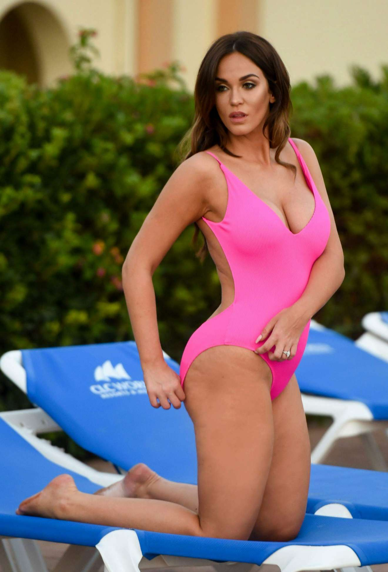 vicky pattison – hot in pink swimsuit poolside in marbella | celebs
