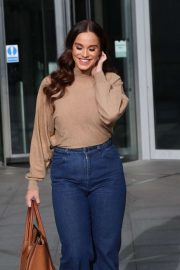 Vicky Pattison in a Beige Top and Denim Jeans out in London