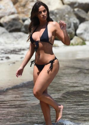 Vicky Pattison in Black Bikini in Majorca