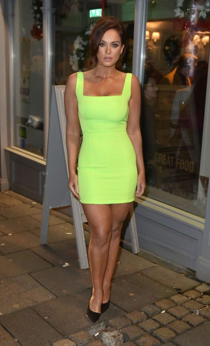 Vicky Pattison in Neon Green Dress – Night out in Newcastle