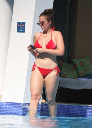 Vicky Pattison in Red Bikini in Tulum