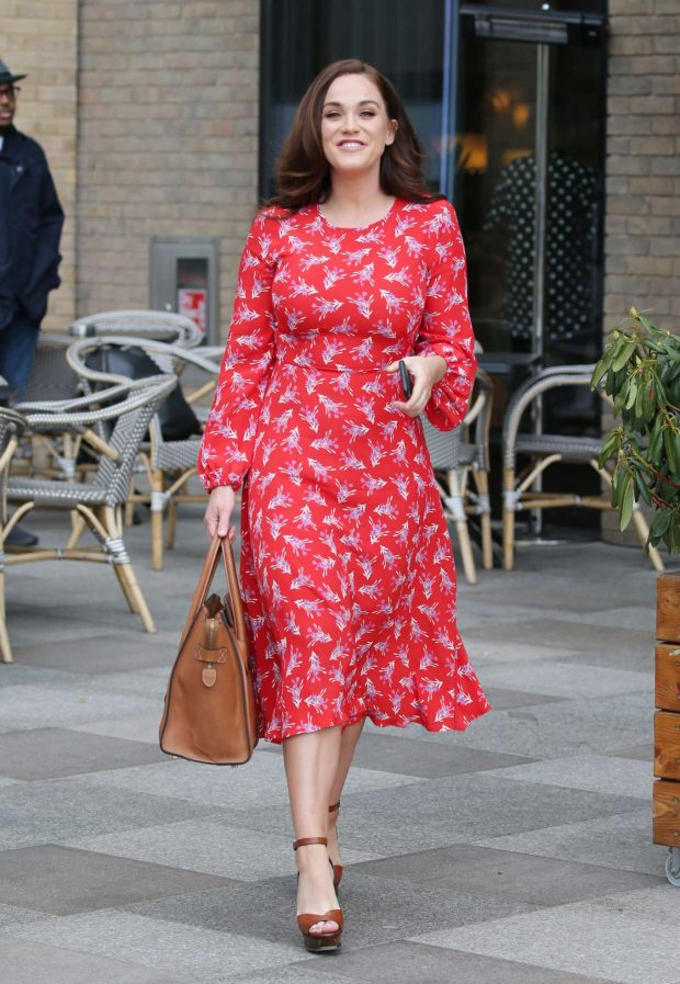 Vicky Pattison in Red Dress - Out in London